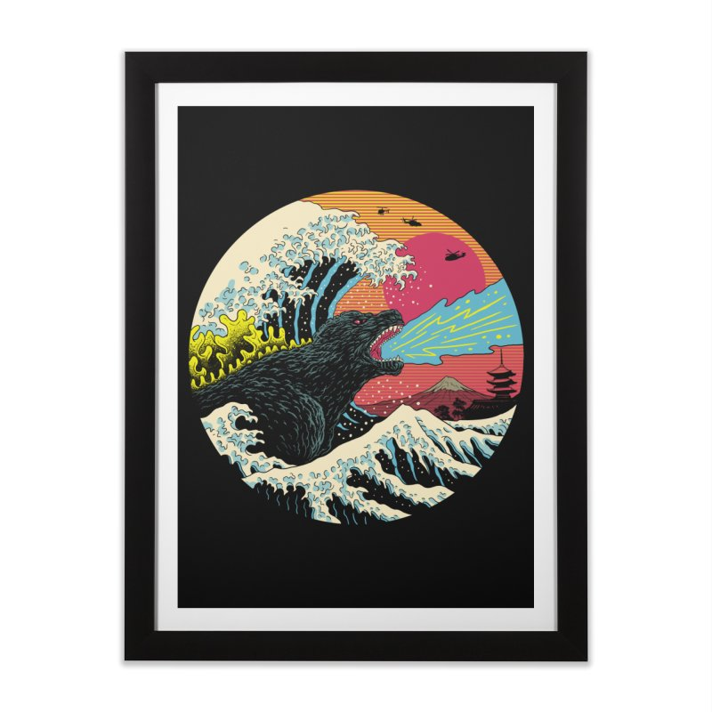 Retro Wave Kaiju Home Framed Fine Art Print by Vincent Trinidad Art