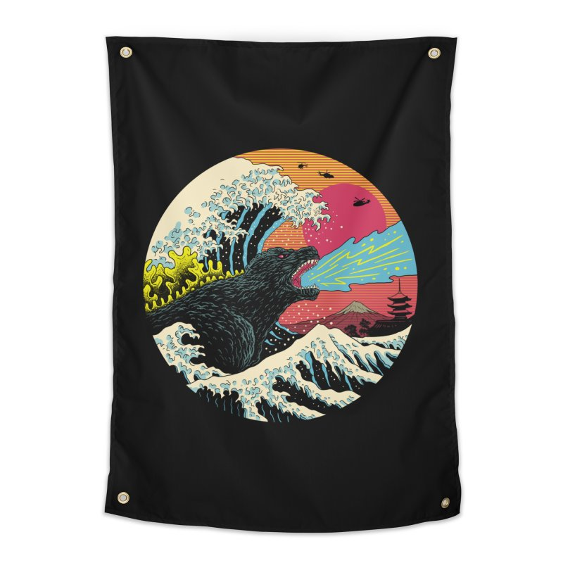 Retro Wave Kaiju Home Tapestry by Vincent Trinidad Art