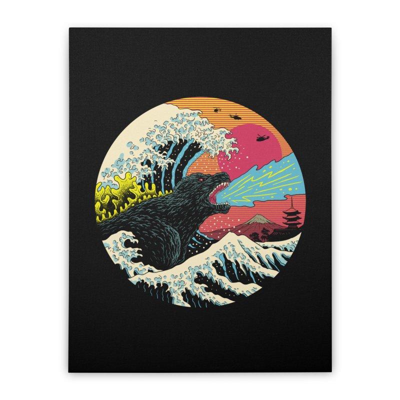Retro Wave Kaiju Home Stretched Canvas by Vincent Trinidad Art