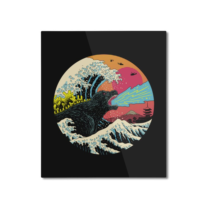 Retro Wave Kaiju Home Mounted Aluminum Print by Vincent Trinidad Art
