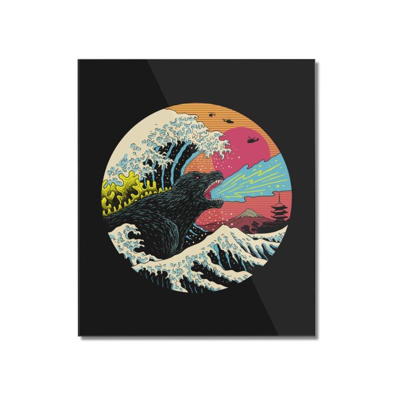 Retro Wave Kaiju Home Mounted Acrylic Print by Vincent Trinidad Art