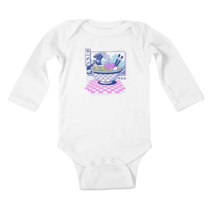 Vaporwave Ramen Kids Baby Longsleeve Bodysuit by Vincent Trinidad Art