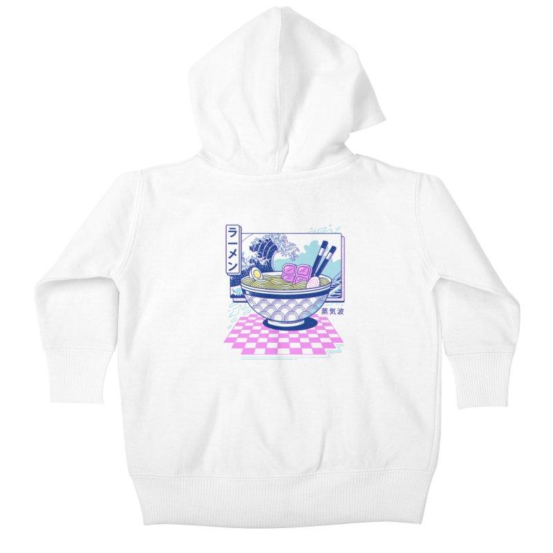 Vaporwave Ramen Kids Baby Zip-Up Hoody by Vincent Trinidad Art
