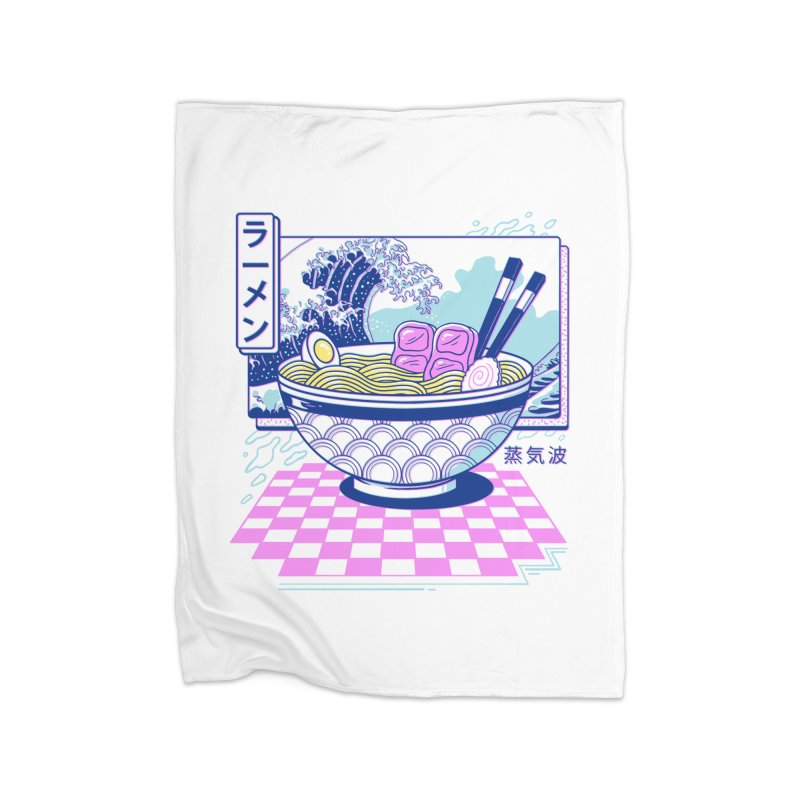 Vaporwave Ramen Home Fleece Blanket Blanket by Vincent Trinidad Art