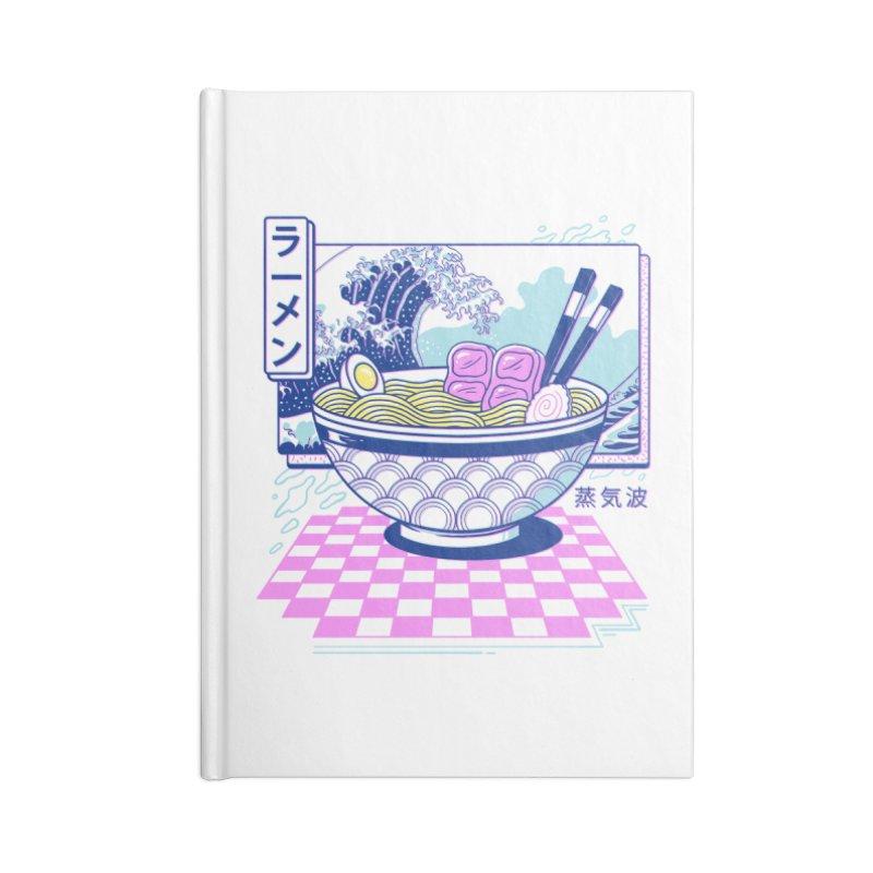 Vaporwave Ramen Accessories Lined Journal Notebook by Vincent Trinidad Art