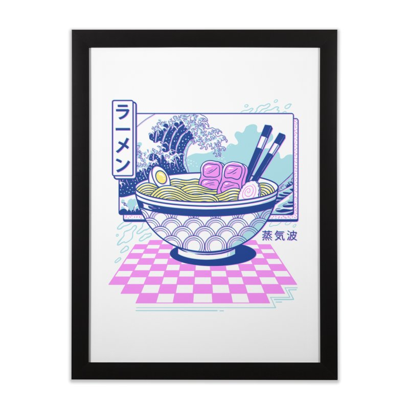 Vaporwave Ramen Home Framed Fine Art Print by Vincent Trinidad Art