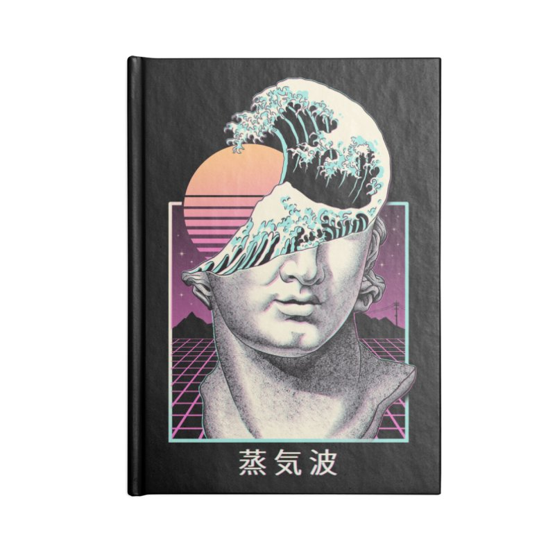Great Vaporwave Accessories Lined Journal Notebook by Vincent Trinidad Art