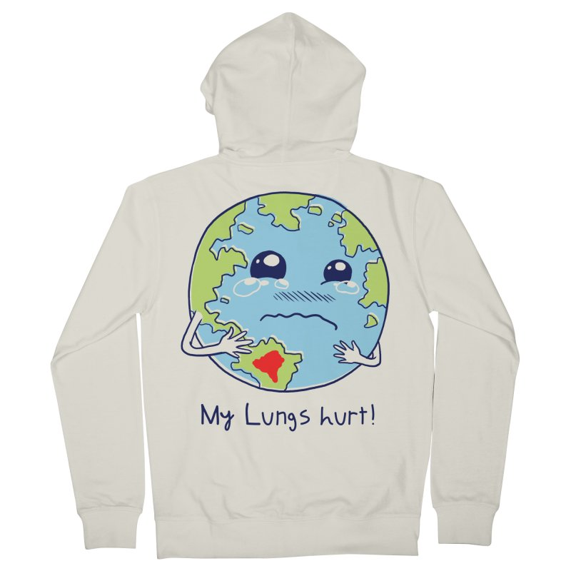 Lungs of Earth Men's French Terry Zip-Up Hoody by Vincent Trinidad Art