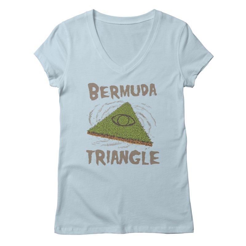 Bermuda Triangle Women's Regular V-Neck by Vincent Trinidad Art
