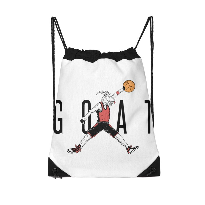 The G.O.A.T Accessories Drawstring Bag Bag by Vincent Trinidad Art