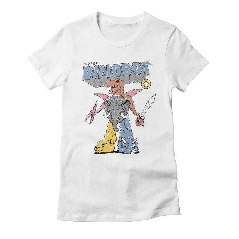 Super Dino Bot Women's Fitted T-Shirt by Vincent Trinidad Art