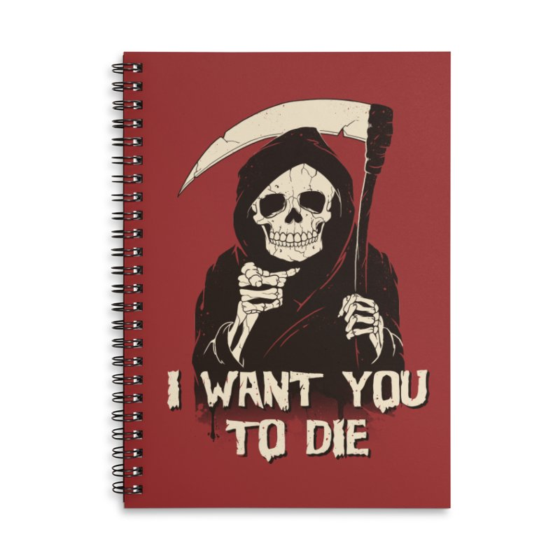 Death Chose You! Accessories Lined Spiral Notebook by Vincent Trinidad Art