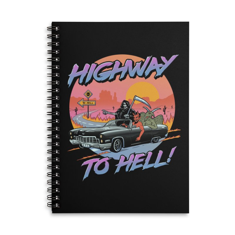Highway to Hell Accessories Lined Spiral Notebook by Vincent Trinidad Art