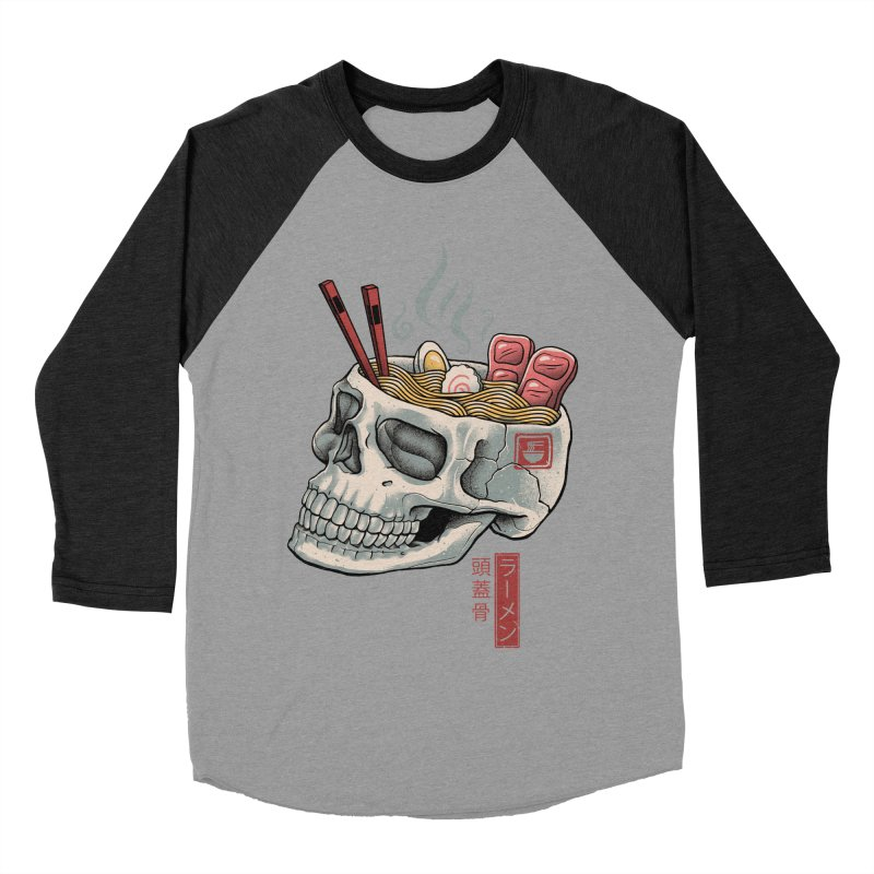 Ramen Skull Men's Baseball Triblend Longsleeve T-Shirt by Vincent Trinidad Art