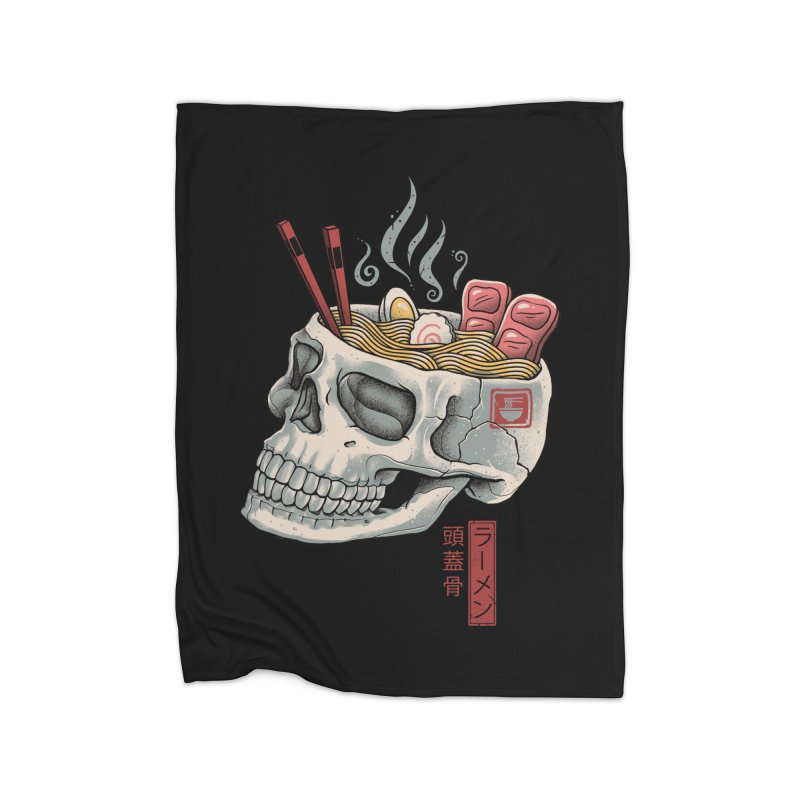 Ramen Skull Home Fleece Blanket Blanket by Vincent Trinidad Art