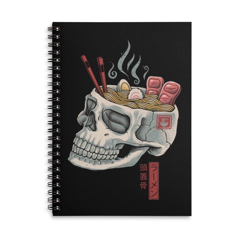 Ramen Skull Accessories Lined Spiral Notebook by Vincent Trinidad Art