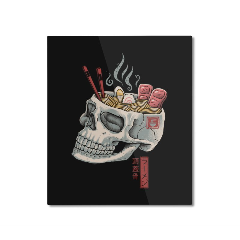 Ramen Skull Home Mounted Aluminum Print by Vincent Trinidad Art