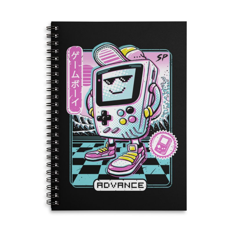 Gamer Boy Accessories Lined Spiral Notebook by Vincent Trinidad Art