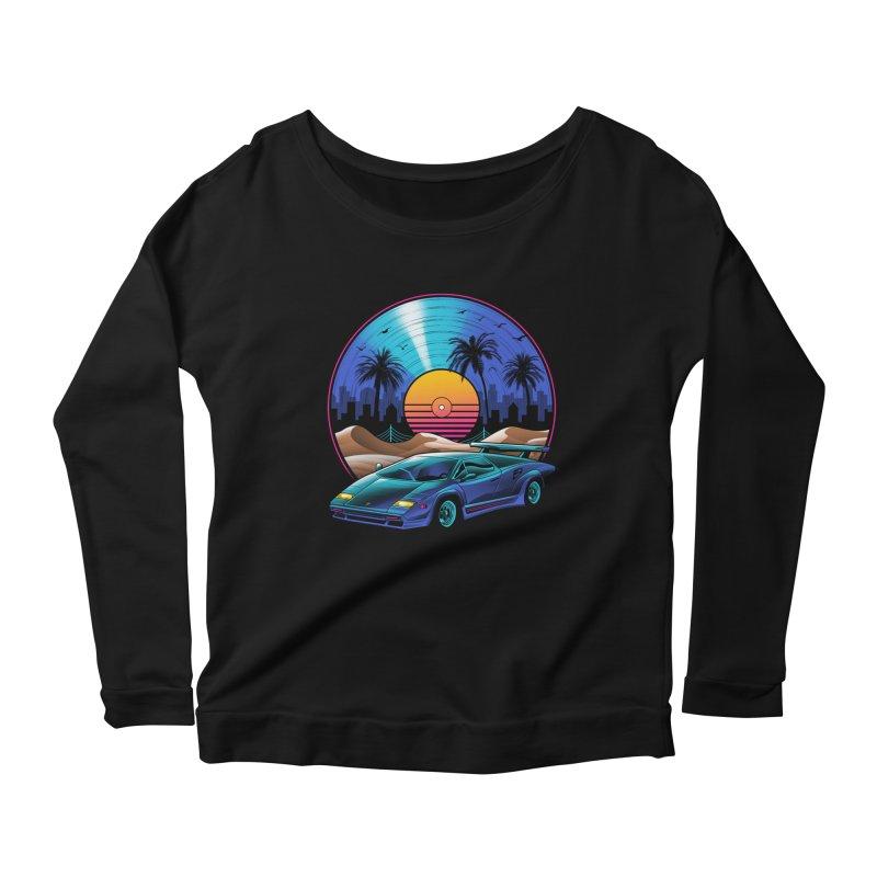 Retro Vinyl Soundtrack Women's Scoop Neck Longsleeve T-Shirt by Vincent Trinidad Art