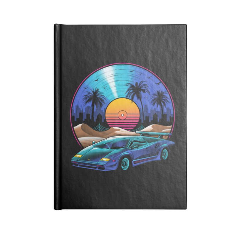Retro Vinyl Soundtrack Accessories Lined Journal Notebook by Vincent Trinidad Art