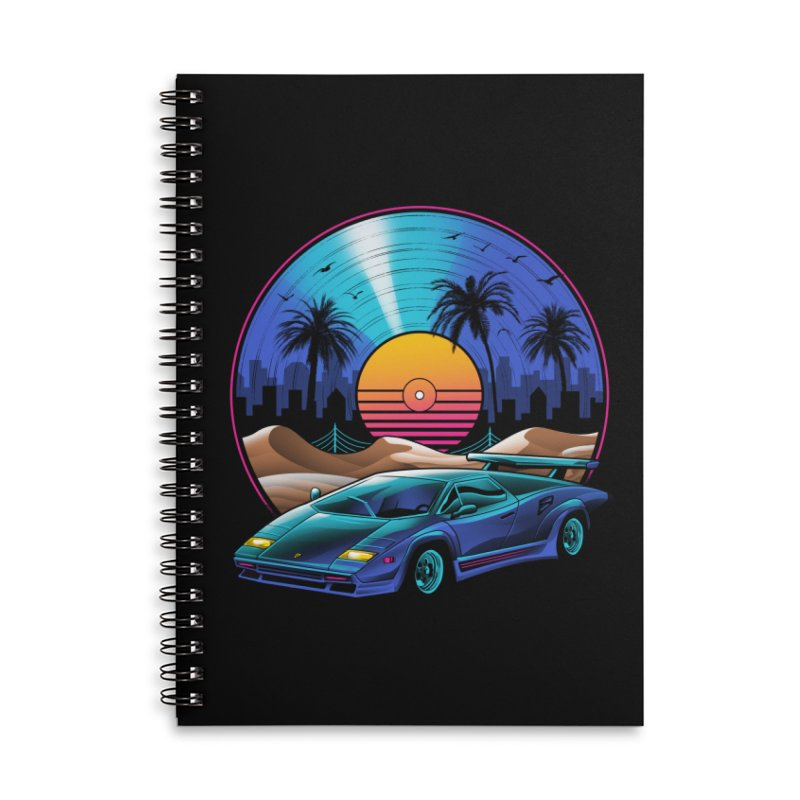Retro Vinyl Soundtrack Accessories Lined Spiral Notebook by Vincent Trinidad Art