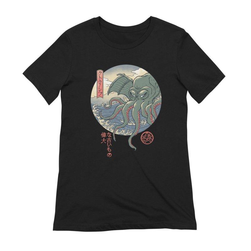 Cthulhu Ukiyo-e Women's Extra Soft T-Shirt by Vincent Trinidad Art