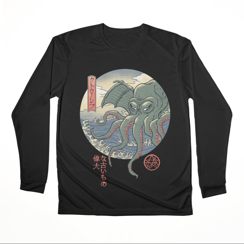 Cthulhu Ukiyo-e Men's Performance Longsleeve T-Shirt by Vincent Trinidad Art