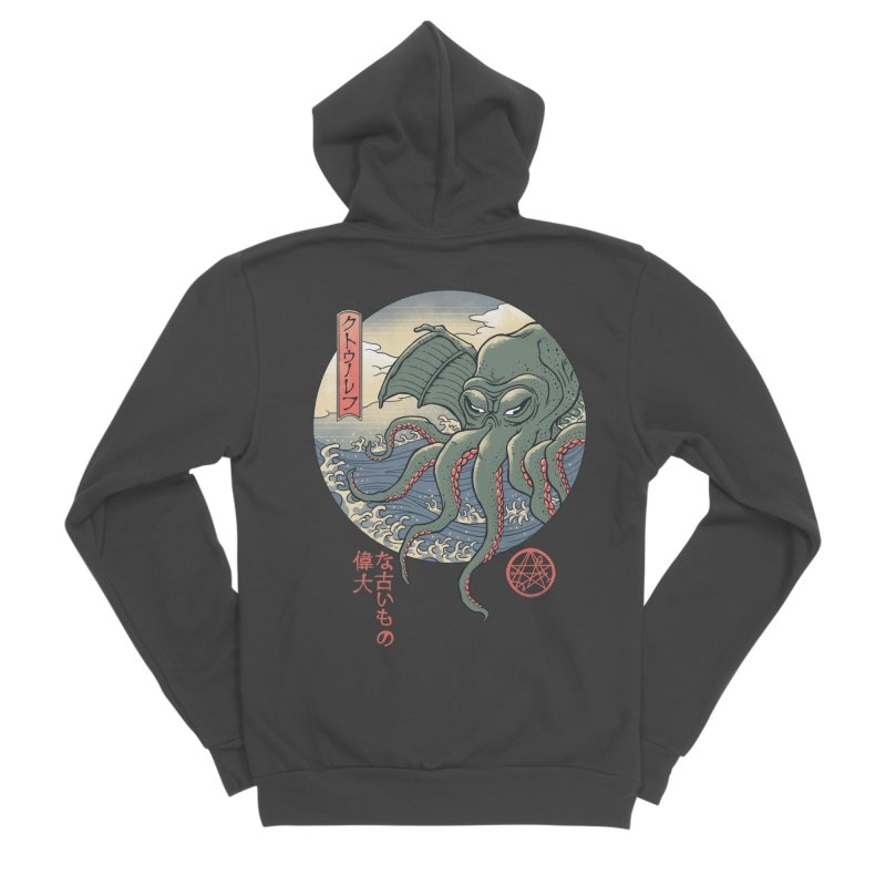 Cthulhu Ukiyo-e Men's Sponge Fleece Zip-Up Hoody by Vincent Trinidad Art