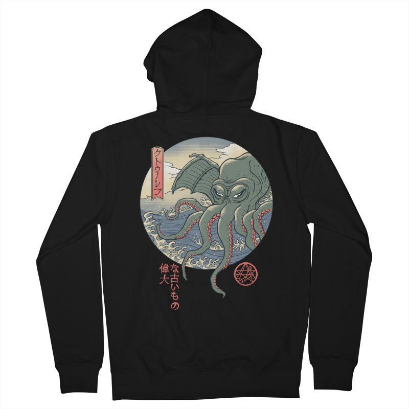 Cthulhu Ukiyo-e Women's French Terry Zip-Up Hoody by Vincent Trinidad Art