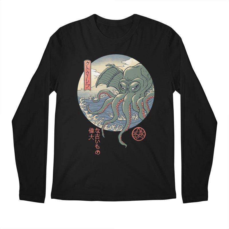Cthulhu Ukiyo-e Men's Regular Longsleeve T-Shirt by Vincent Trinidad Art