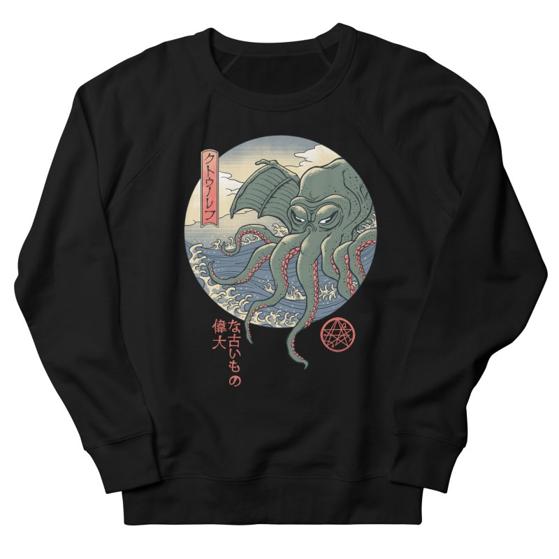 Cthulhu Ukiyo-e Men's French Terry Sweatshirt by Vincent Trinidad Art