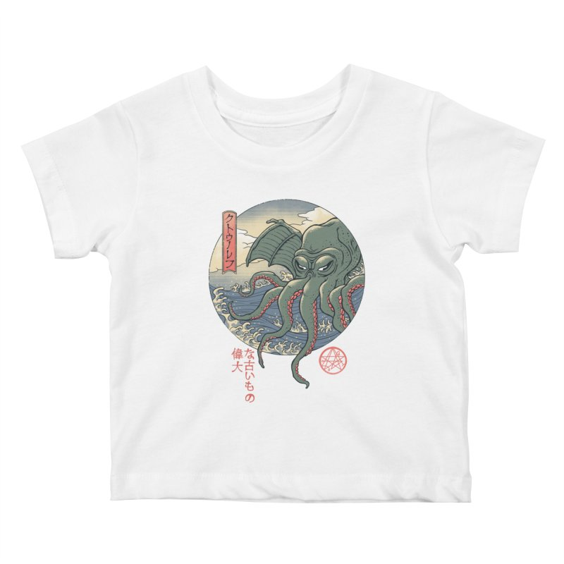 Cthulhu Ukiyo-e Kids Baby T-Shirt by Vincent Trinidad Art