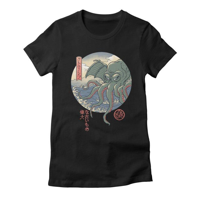 Cthulhu Ukiyo-e Women's Fitted T-Shirt by Vincent Trinidad Art