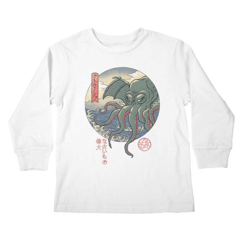 Cthulhu Ukiyo-e Kids Longsleeve T-Shirt by Vincent Trinidad Art