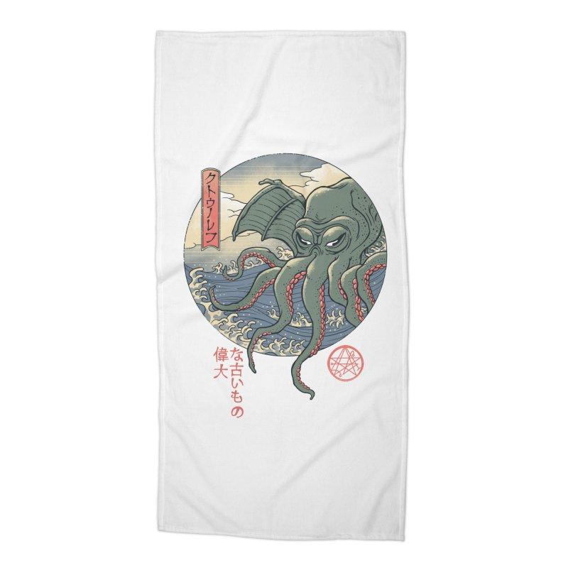 Cthulhu Ukiyo-e Accessories Beach Towel by Vincent Trinidad Art