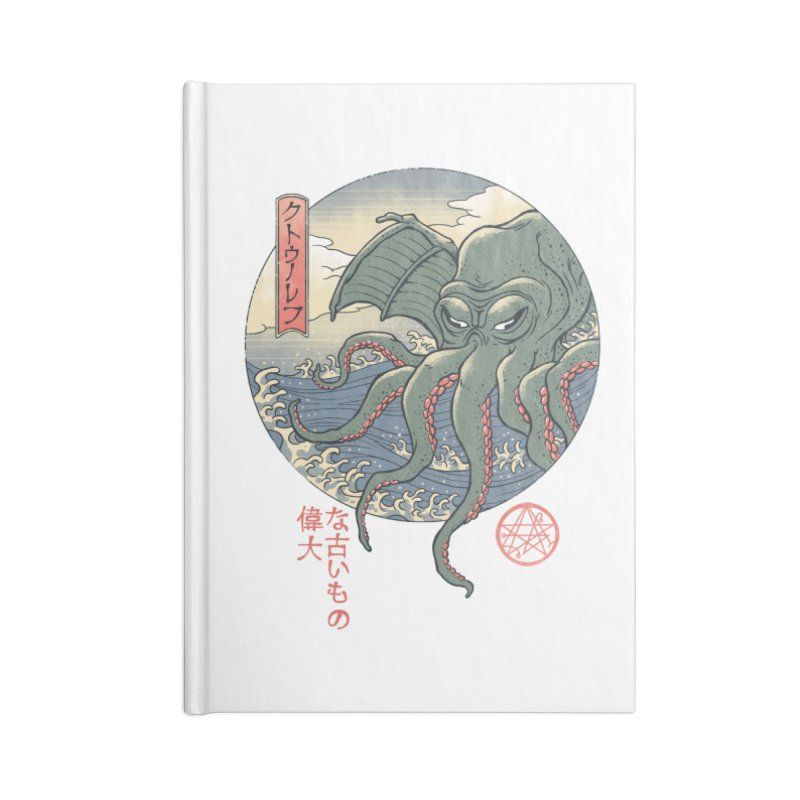 Cthulhu Ukiyo-e Accessories Lined Journal Notebook by Vincent Trinidad Art