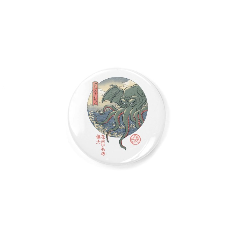 Cthulhu Ukiyo-e Accessories Button by Vincent Trinidad Art
