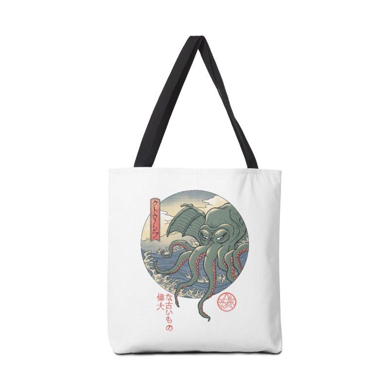 Cthulhu Ukiyo-e Accessories Tote Bag Bag by Vincent Trinidad Art