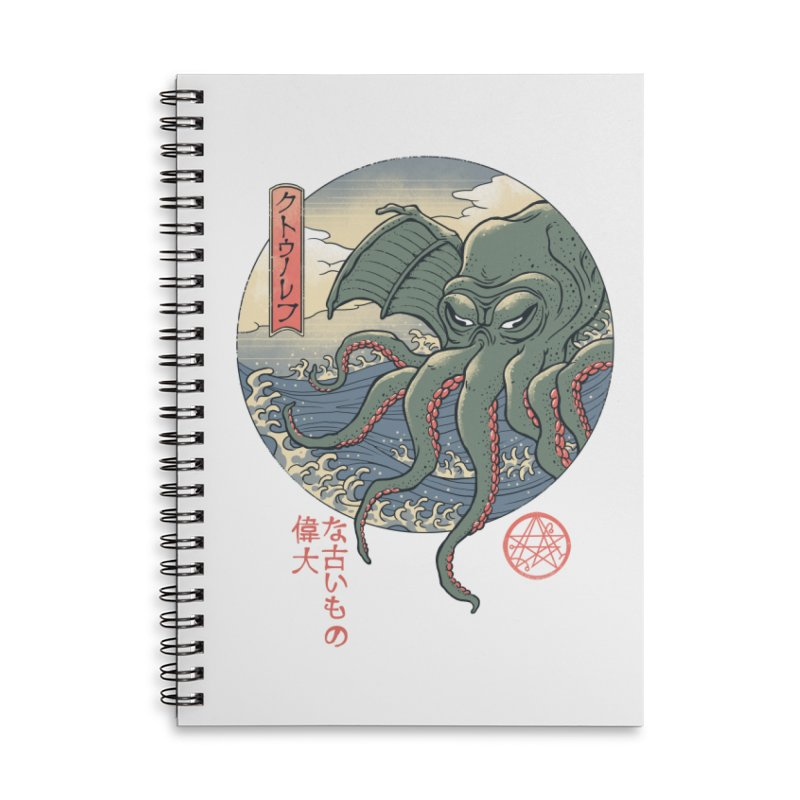 Cthulhu Ukiyo-e Accessories Lined Spiral Notebook by Vincent Trinidad Art