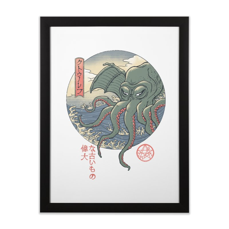 Cthulhu Ukiyo-e Home Framed Fine Art Print by Vincent Trinidad Art