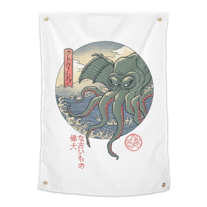 Cthulhu Ukiyo-e Home Tapestry by Vincent Trinidad Art