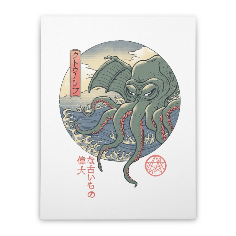 Cthulhu Ukiyo-e Home Stretched Canvas by Vincent Trinidad Art
