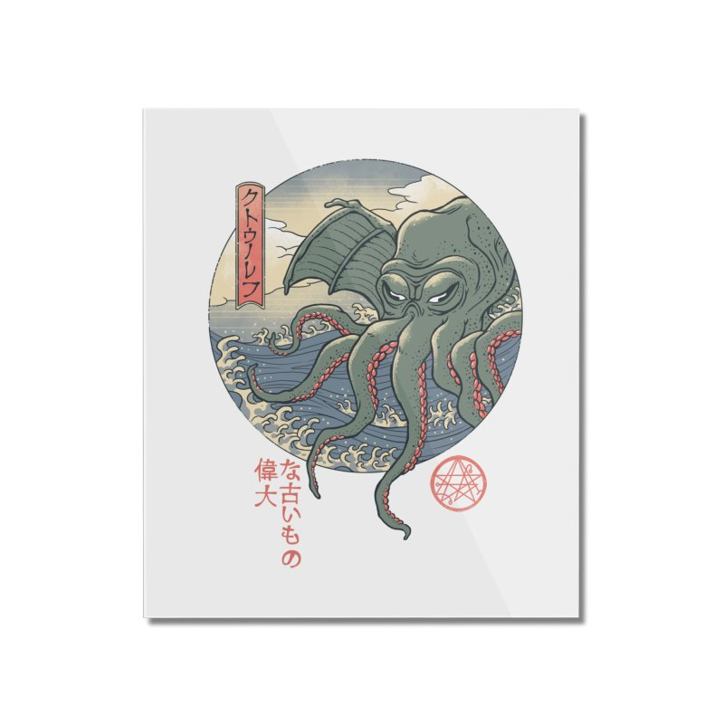 Cthulhu Ukiyo-e Home Mounted Acrylic Print by Vincent Trinidad Art