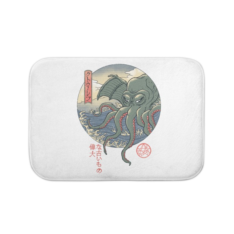 Cthulhu Ukiyo-e Home Bath Mat by Vincent Trinidad Art