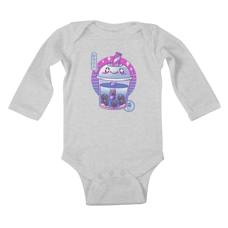Boba Wave Tea Kids Baby Longsleeve Bodysuit by Vincent Trinidad Art