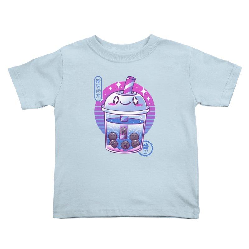 Boba Wave Tea Kids Toddler T-Shirt by Vincent Trinidad Art