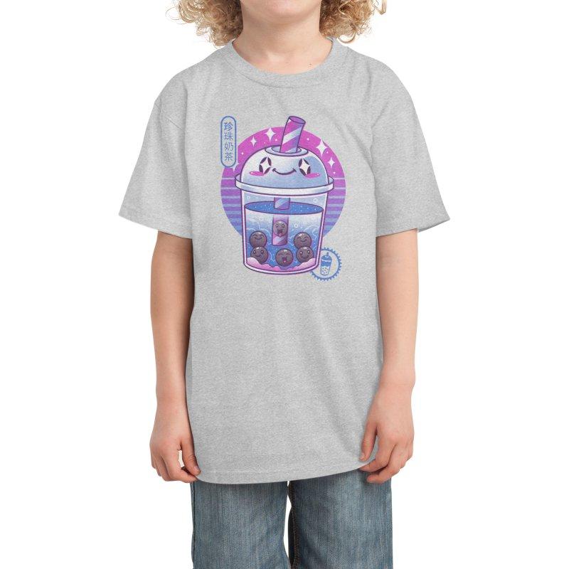 Boba Wave Tea Kids T-Shirt by Vincent Trinidad Art