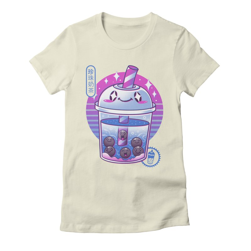 Boba Wave Tea Women's Fitted T-Shirt by Vincent Trinidad Art