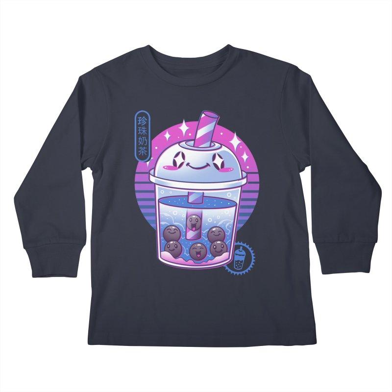 Boba Wave Tea Kids Longsleeve T-Shirt by Vincent Trinidad Art