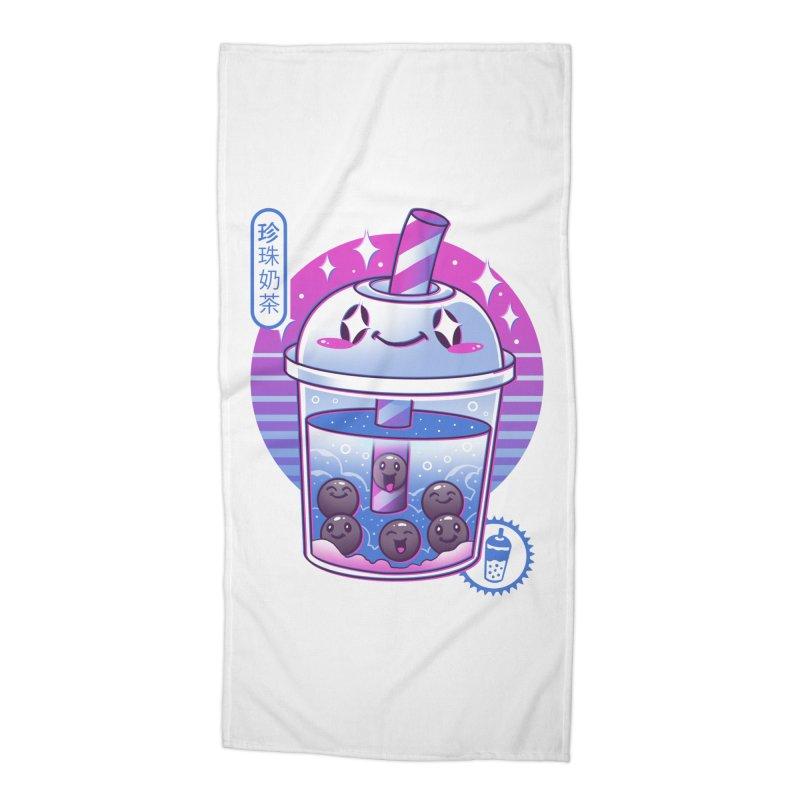 Boba Wave Tea Accessories Beach Towel by Vincent Trinidad Art